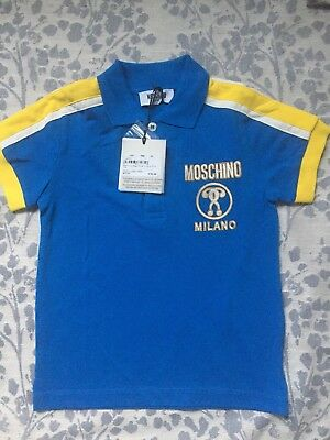 MOSCHINO BOYS BLUE MILANO POLO TOP Size 4 Years Old RRP £70