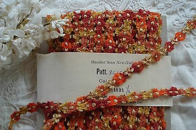 1y VINTAGE FRENCH GOLD RUST CHENILLE ROCOCO ROSETTE FLOWER RIBBON TRIM DOLL HAT