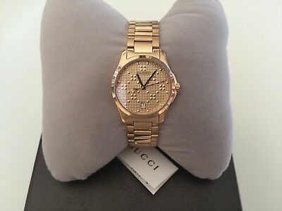 583d137ab Gucci G-Timeless Rose Gold PVD Textured Dial Women's Watch YA126567 NEW IN  BOX