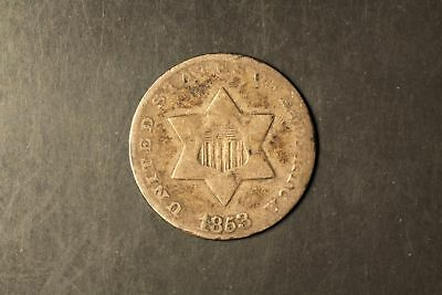 1853 Three Cent Silver 3c F Details bent #RB3-6035