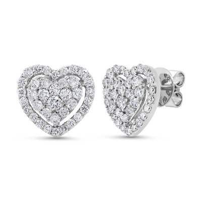 1.25 ct 14k White Gold Natural Round Cut Real Diamond Heart Halo Stud Earring