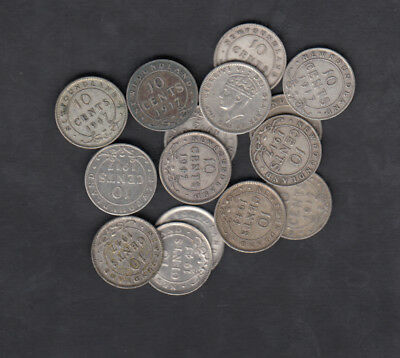 1903-47 Canada Newfoundland 10 Cents Silver Coin Lot Of 15