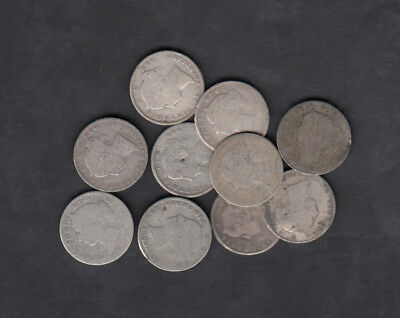 1865-1896 Canada Newfoundland 10 Cents Silver Coin Lot Of 10
