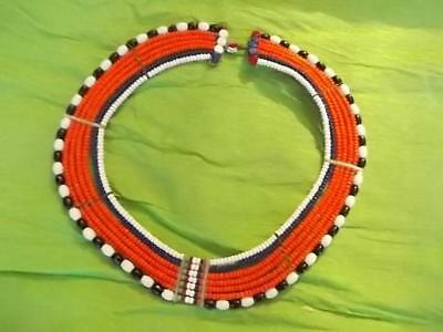 78 / Vintage African Tribal Necklace Made From Glass Beads Threaded On Wires