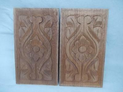 588 / Pair Of Mahogany Panels Hand Carved On Both Sides With Flower And Leaves