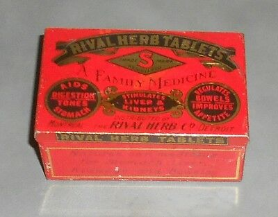 c1910 Antique Medical Tin - Rival Herb Tablets A Family Medicine