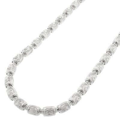 Solid Sterling Silver 4mm Moon-Cut Oval Bead Barrel .925 Italy Necklace Chains