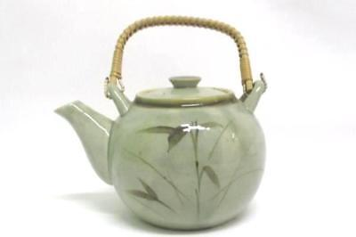 Hand Painted Teapot Gray Green Speckled Leaf Made in Japan Wicker Handle Small