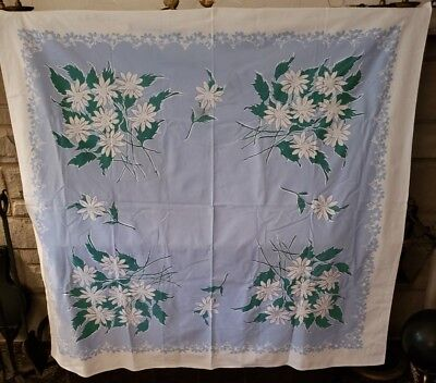 Vintage Tablecloth Floral Blue Green White Daisies Daisy