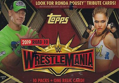 2019 Topps WWE Road To Wrestlemania Trading Cards Retail 70c+1 Relic Blaster Box