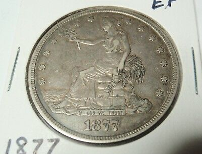 1877 Trade Silver Dollar  -  Extra Fine Details Showing  -  No Chops