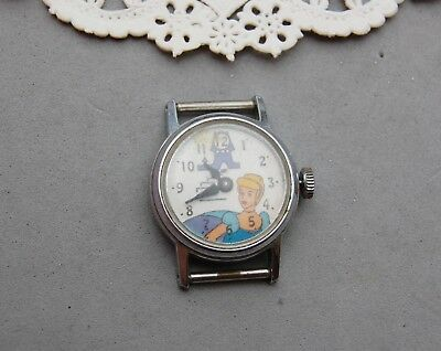 "Cinderella Watch Vintage Walt Disney Productions Not Run No Band 3/4"" Stainless."