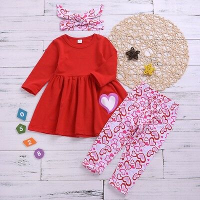 3PCS Toddler Kids Clothes Baby Girls Heart Dress Tops Pants Valentine Outfit Set
