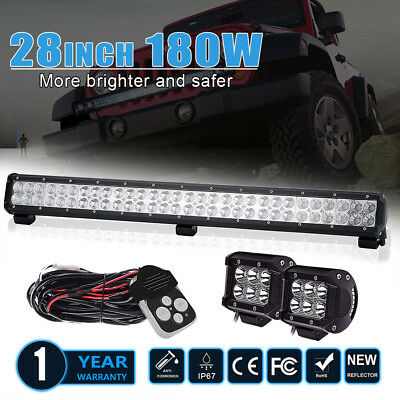 28inch 180W LED Spot Flood Work Light Bar Combo Beam Offroad UTE Lamp Truck ATV