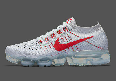 Nike Air VaporMax 2 Flyknit Running Shoes Men AUTHENTIC white/red Size 11
