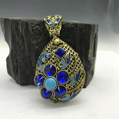 Collection of Chinese Cloisonne pendant inlaid with artificial gemstones.   b783