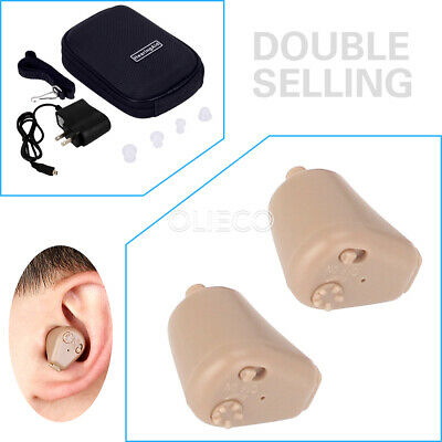 A Pair Rechargeable Digital Mini In Ear Hearing Aid Adjustable Tone Amplifier