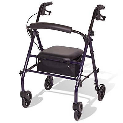 Carex Steel Rollator Walker with Seat and Wheels, Includes Back Support, Roll...