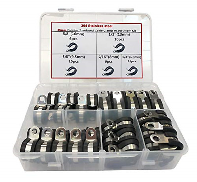 Cable Clamp, 46 Pieces Stainless Steel Rubber Cushion Pipe Clamps Assortment ...
