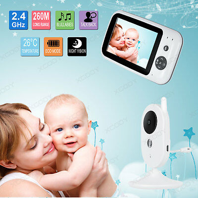 "Wireless 3.5"" LCD Baby Monitor Digital Video Camera Security 2 Way Audio 2.4GHz"