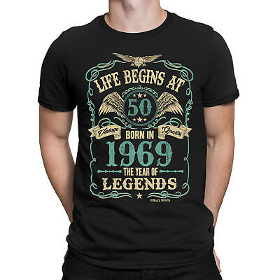 Life Begins At 50 Mens Shirt Large BORN In 1969 Year of Legends 50th Birthday XL
