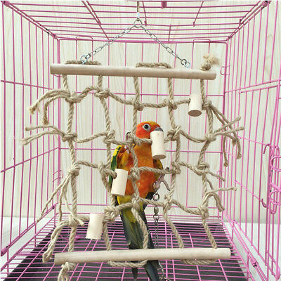 Pet Parrot Cage Hanging Toys Colorful Rope Pet Climbing Net Swing Ladder Toy