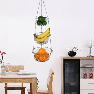 WIRE HANGING KITCHEN Basket Fruit Vegetable Organizer Plant ...