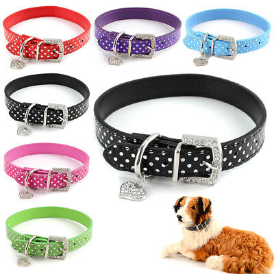 Collier pour chien chat animaux harnais PU cuir en strass dot polka xs s m l