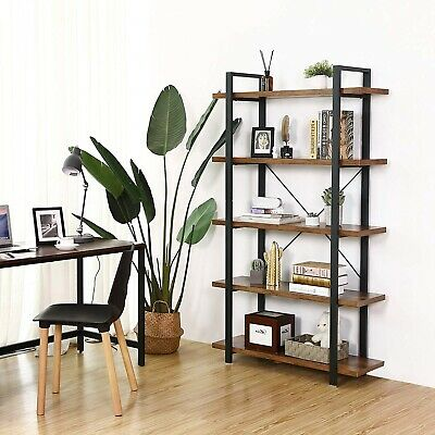 Vintage Industrial Bookcase Folding Wood Metal Open Shelving Unit Display Stand