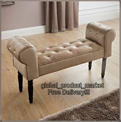 Window Fabric Bench End Bed Seat Sofa Footstool Home Bedroom Chair Chaise Longue