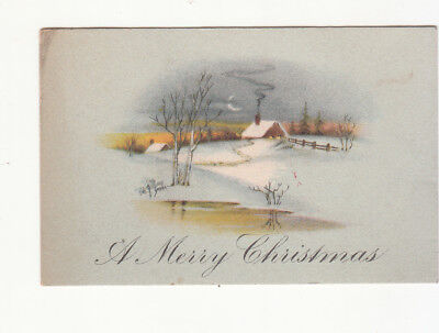 A Merry Christmas House in the Snow Winter Moon Chimney Smoke Vict Card c1880s