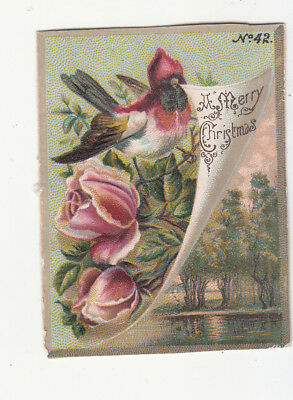 A Merry Christmas Red Breasted Bird Scroll Flowers Trees Vict Card c1880s