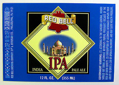 Red Bell Brewing RED BELL IPA - INDIA PALE ALE beer label PA 12oz
