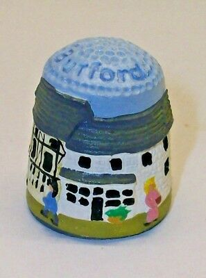 A FINELY DETAILED HAND PAINTED PEWTER THIMBLE --A STREET SCENE OF BURFORD-- No1