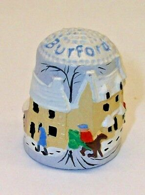 A FINELY DETAILED HAND PAINTED PEWTER THIMBLE --A STREET SCENE OF BURFORD-- No2
