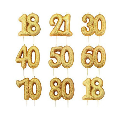 Gold Glitter Age Number Candle Birthday Party Cake Topper Celebration Decoration