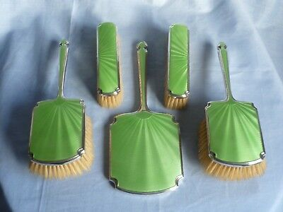 Art Deco SOLID SILVER mounted 5 piece dressing table set, hand mirror & brushes