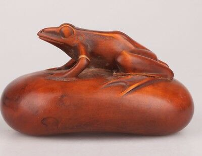 Vintage Chinese Boxwood Statue Decorate Old Hand-Carved Frog Mascot Collection