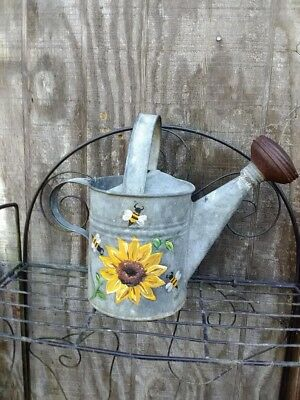 galvanized watering can vintage sunflower bee yellow gift antique painted