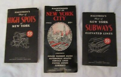 1950 Vintage Hagstrom's Map s lot  SUBWAY & New York City   - Sights - Guide