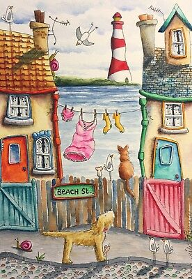 Original Watercolour Painting by JULIA Seaside Dog, Cat, Mouse, Lighthouse Snail