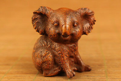 chinese old boxwood hand carved koala statue netsuke collectable ornament