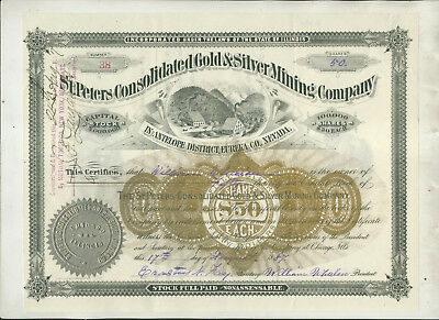 1887 St Peters Consolidated Gold Silver Mining Co Illinois Stock Certificate