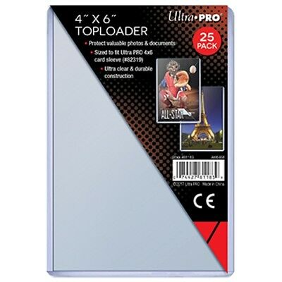 1 PACK OF 25 ULTRA PRO 4x6 HARD RIGID TOP LOAD TOPLOADER POSTCARD PHOTO HOLDERS