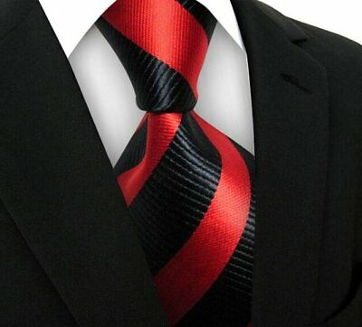 New Classic Striped WOVEN JACQUARD Silk Men's Suits Tie Necktie Black Red N156