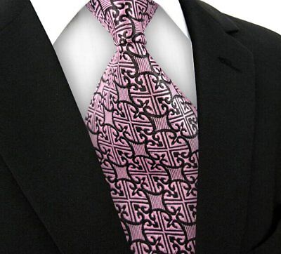New Mens Plaid WOVEN JACQUARD Silk Men's Suits Tie Necktie Wine Red Black N248
