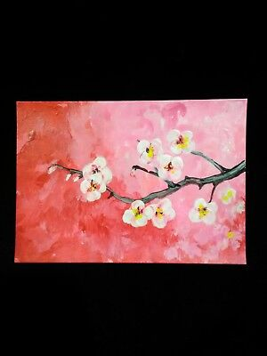 painting ARTIST TRADING CARD signed ACEO original CHERRY BLOSSOM flower tree ATC