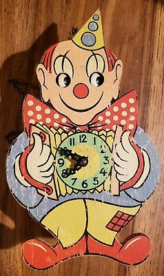 Rare Vintage West GERMANY Moving Eyes Clown Cuckoo Clock Runs Some Damage