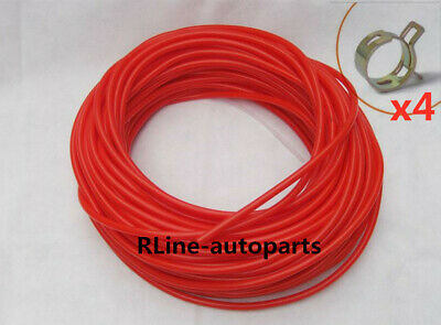 """R-Line For ID 1/8"""" 3mm Length 12Feet Silicone Vacuum Hose Pipe Tube Red Color"""