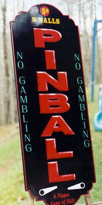 "Unique Vertical PINBALL Sign 3-d Lettering ""NICE"""